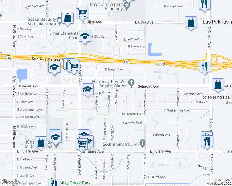 map of restaurants, bars, coffee shops, grocery stores, and more near 434 N Villa Ave in Fresno