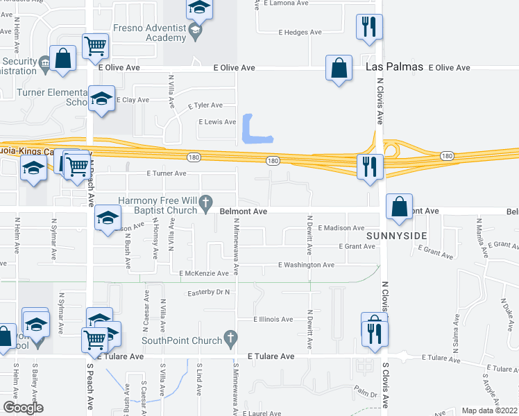 map of restaurants, bars, coffee shops, grocery stores, and more near 5432 East Belmont Avenue in Fresno