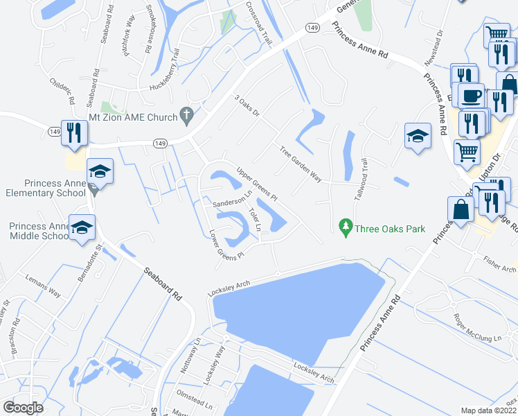 map of restaurants, bars, coffee shops, grocery stores, and more near 2320 Toler Ln in Virginia Beach