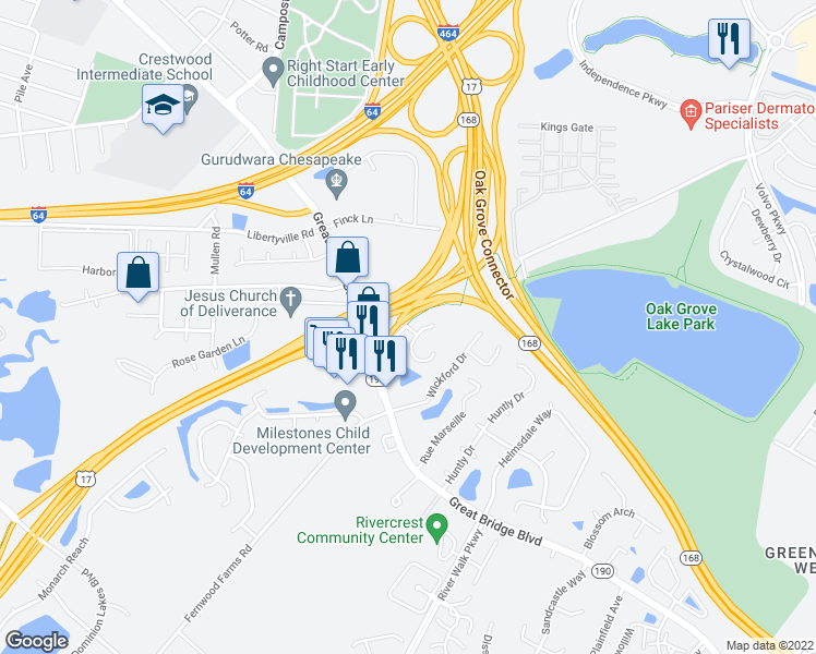 map of restaurants, bars, coffee shops, grocery stores, and more near Dominion Boulevard North in Chesapeake