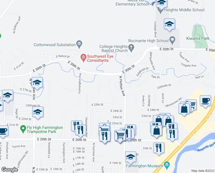 map of restaurants, bars, coffee shops, grocery stores, and more near 2723 Eastridge Court in Farmington