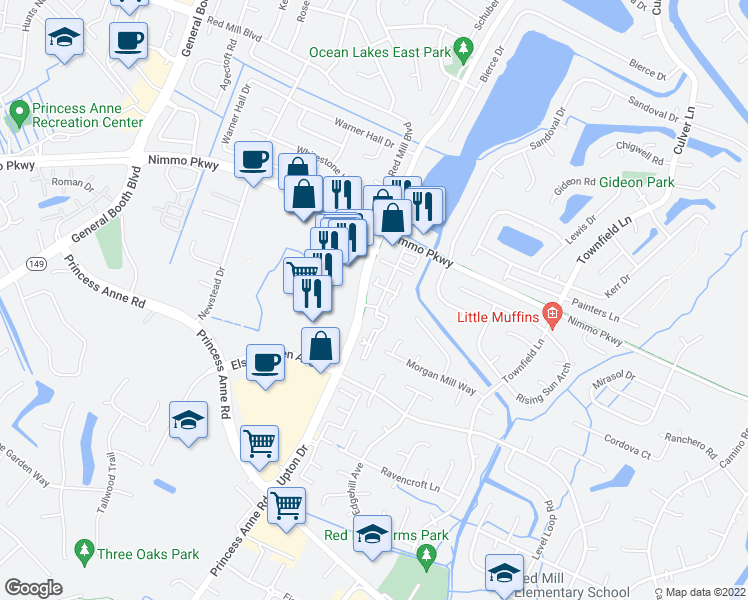 map of restaurants, bars, coffee shops, grocery stores, and more near 2160 Mill Crossing Drive in Virginia Beach