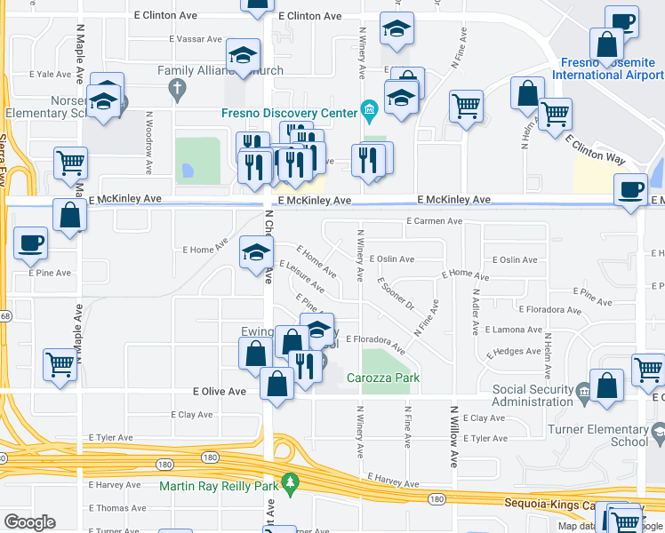 map of restaurants, bars, coffee shops, grocery stores, and more near 4867 East Home Avenue in Fresno