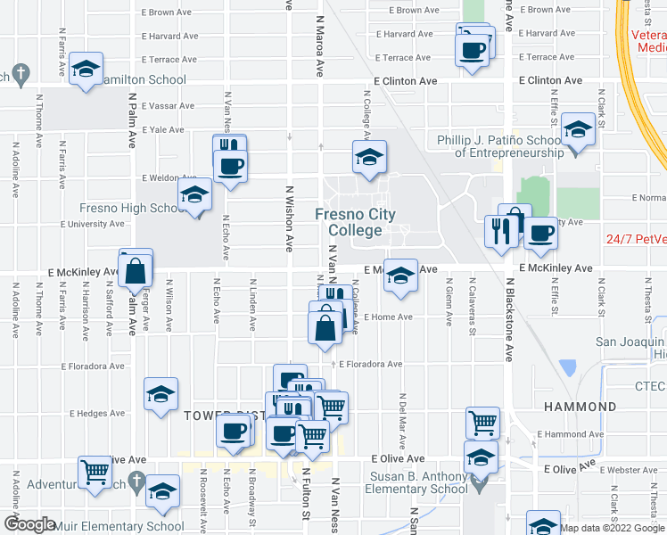 map of restaurants, bars, coffee shops, grocery stores, and more near E McKinley Ave & N Van Ness Ave in Fresno