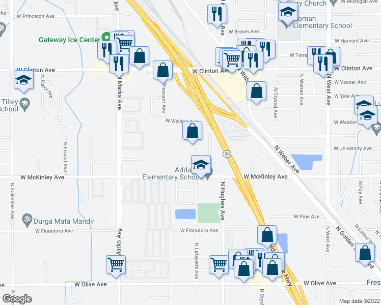 map of restaurants, bars, coffee shops, grocery stores, and more near 1805,101 North Lafayette Avenue in Fresno