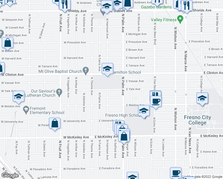 map of restaurants, bars, coffee shops, grocery stores, and more near 122 E Yale Ave in Fresno