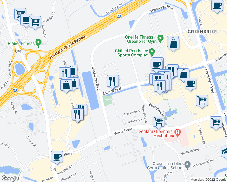 map of restaurants, bars, coffee shops, grocery stores, and more near 733 Eden Way North in Chesapeake