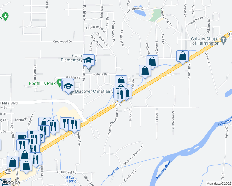 map of restaurants, bars, coffee shops, grocery stores, and more near 5809 Plaza Drive in Farmington