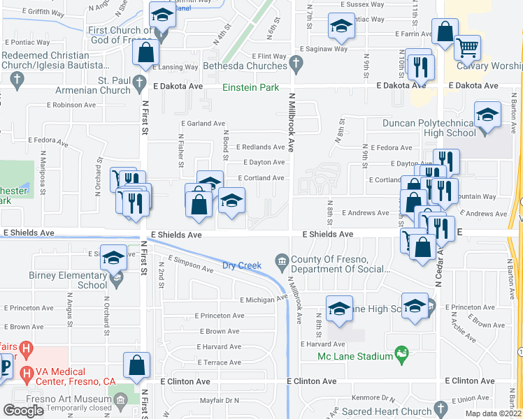 map of restaurants, bars, coffee shops, grocery stores, and more near 3373 N Millbrook Ave in Fresno