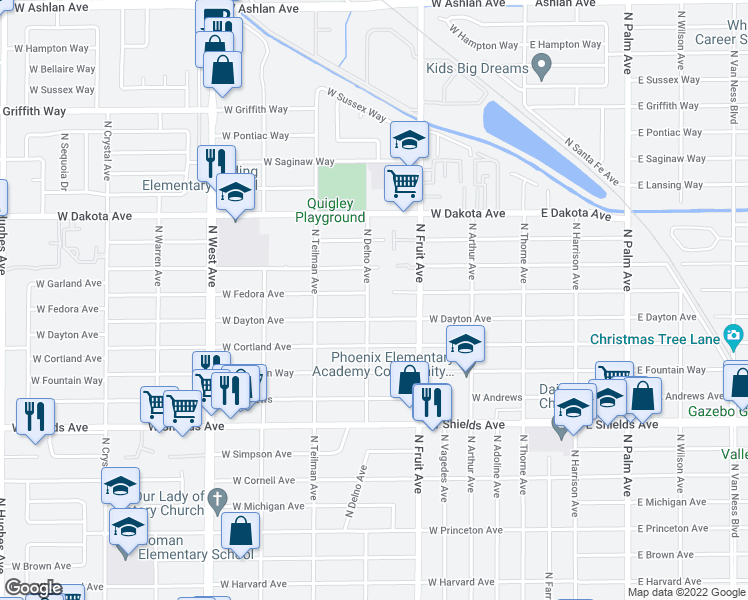 map of restaurants, bars, coffee shops, grocery stores, and more near 3634 North Delno Avenue in Fresno