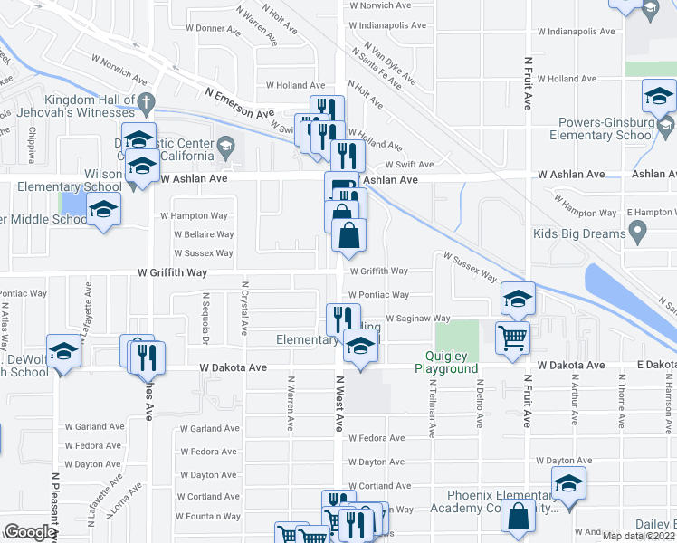 map of restaurants, bars, coffee shops, grocery stores, and more near NW Ave & W Griffith Way in Fresno