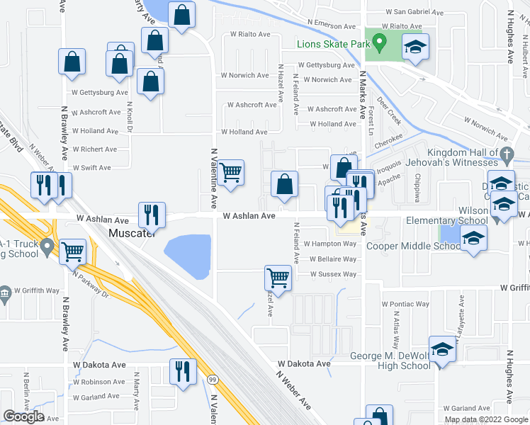 map of restaurants, bars, coffee shops, grocery stores, and more near 3239 W Ashlan Ave in Fresno