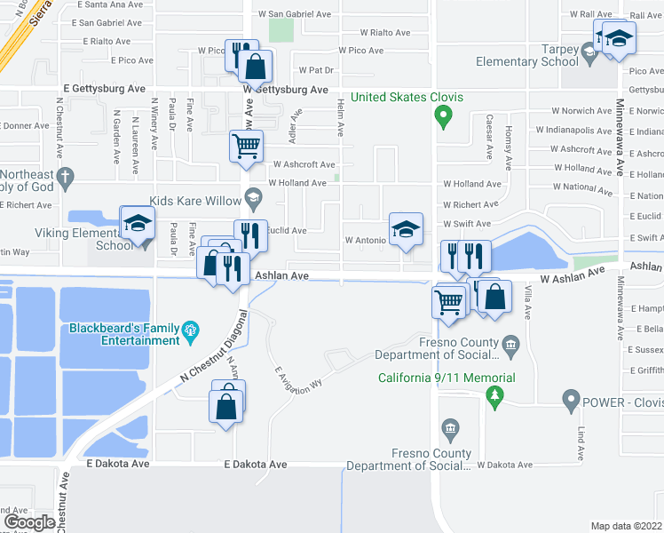 map of restaurants, bars, coffee shops, grocery stores, and more near 611 West Ashlan Avenue in Clovis