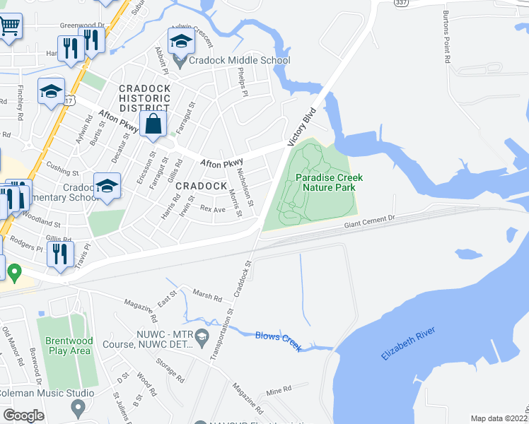 map of restaurants, bars, coffee shops, grocery stores, and more near 108 Nicholson Street in Portsmouth