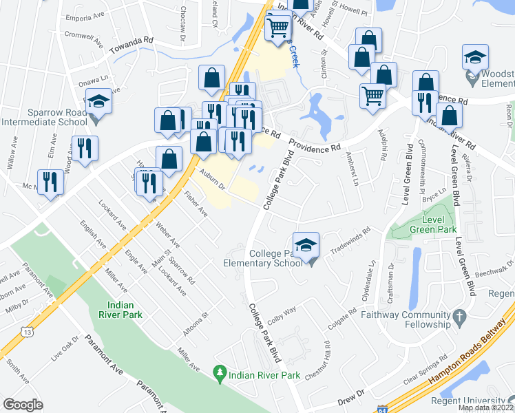 map of restaurants, bars, coffee shops, grocery stores, and more near College Park Boulevard in Virginia Beach