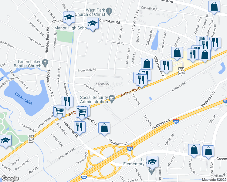 map of restaurants, bars, coffee shops, grocery stores, and more near 811-899 Lancer Dr in Portsmouth
