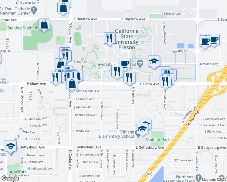 map of restaurants, bars, coffee shops, grocery stores, and more near 4535 E Fairmont Ave in Fresno