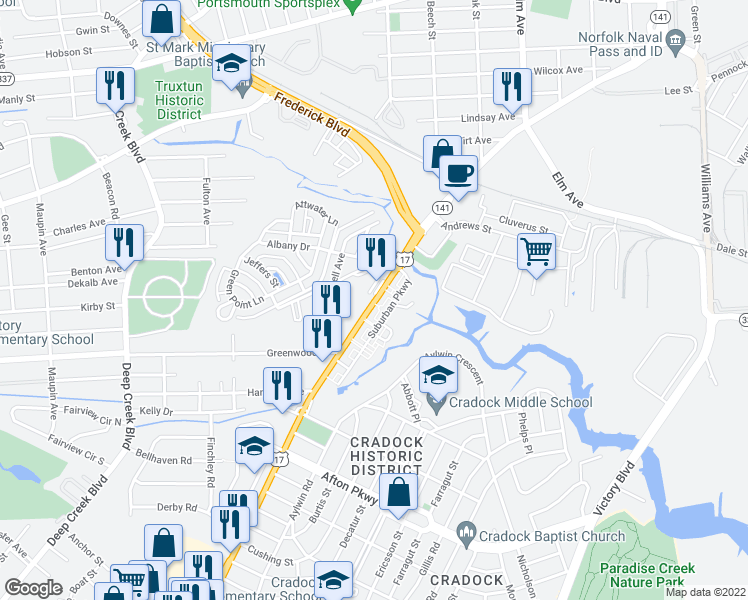 map of restaurants, bars, coffee shops, grocery stores, and more near 3814 George Washington Highway in Portsmouth