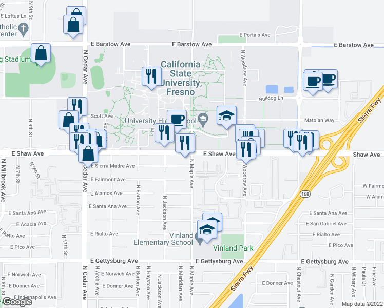 map of restaurants, bars, coffee shops, grocery stores, and more near Shaw Ave & N Maple Ave in Fresno