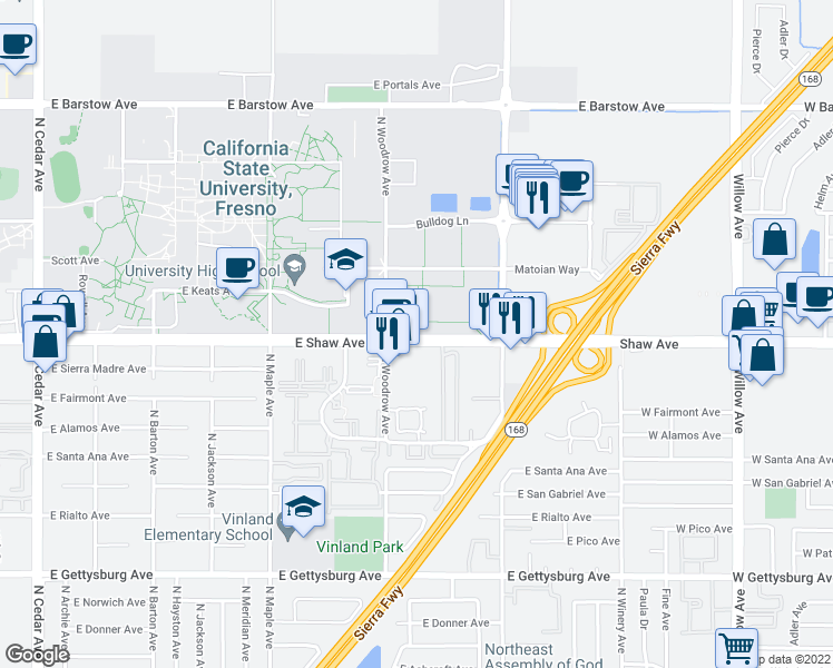 map of restaurants, bars, coffee shops, grocery stores, and more near 2633 East Shaw Avenue in Fresno