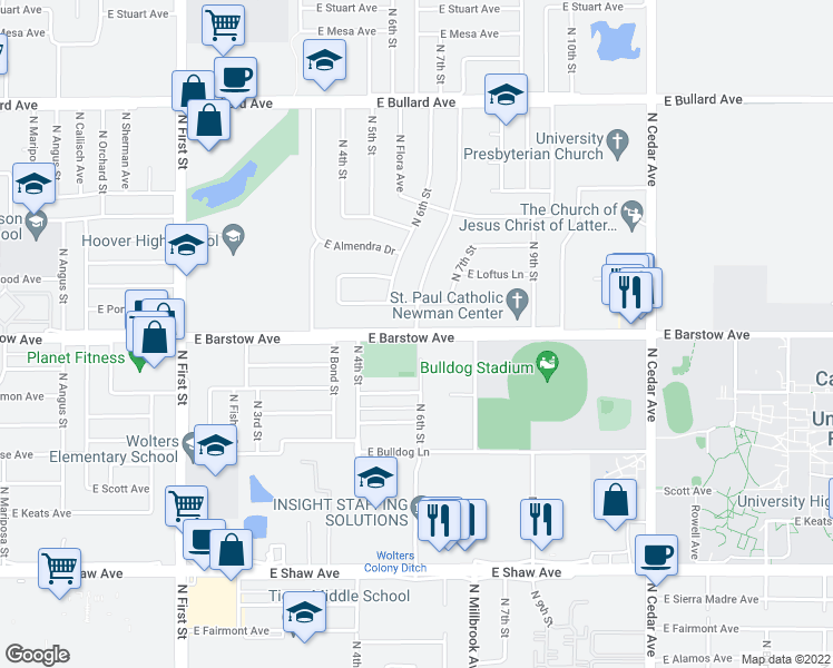 map of restaurants, bars, coffee shops, grocery stores, and more near N Millbrook Ave & E Barstow Ave in Fresno