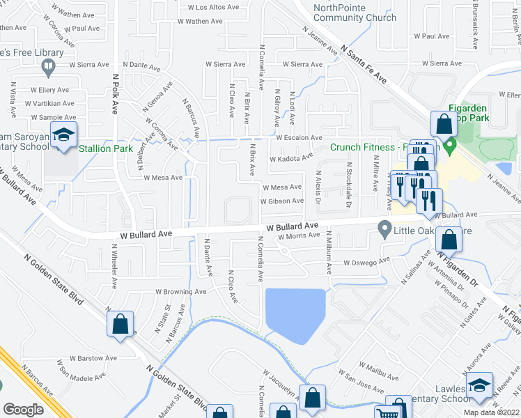 map of restaurants, bars, coffee shops, grocery stores, and more near N Cornelia Ave in Fresno