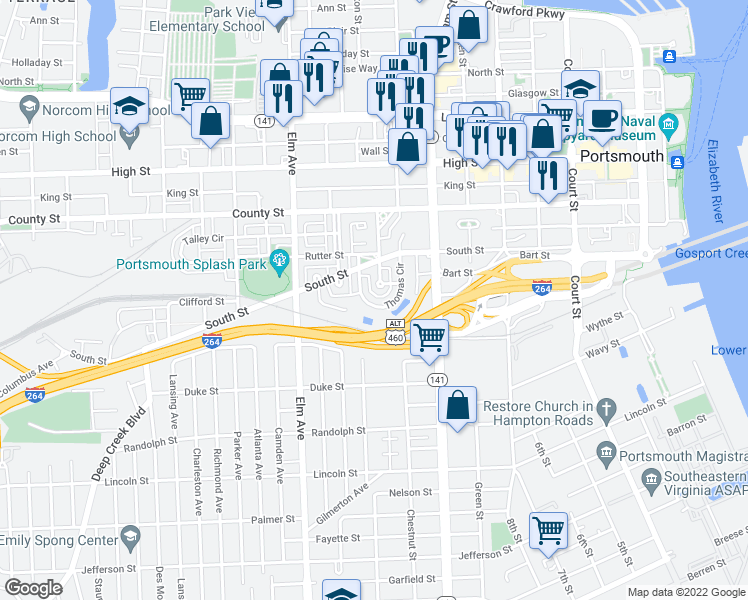 map of restaurants, bars, coffee shops, grocery stores, and more near 960 Thomas Circle in Portsmouth