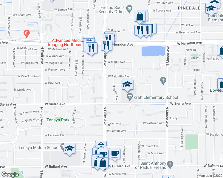 map of restaurants, bars, coffee shops, grocery stores, and more near 6495 N Ferger Ave in Fresno