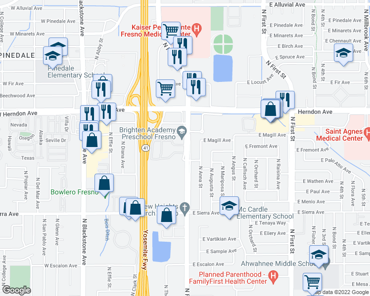 map of restaurants, bars, coffee shops, grocery stores, and more near 400-498 East Palo Alto Avenue in Fresno