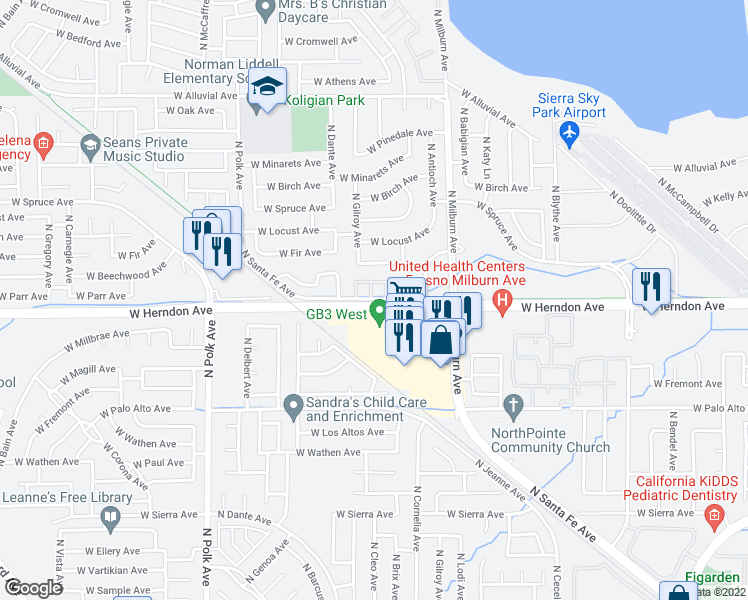 map of restaurants, bars, coffee shops, grocery stores, and more near 5051-5253 West Herndon Avenue in Fresno