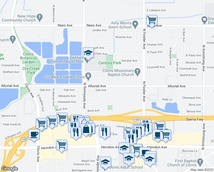 map of restaurants, bars, coffee shops, grocery stores, and more near Alluvial Ave in Clovis