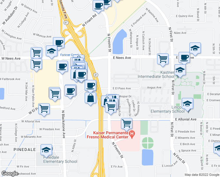map of restaurants, bars, coffee shops, grocery stores, and more near 7601-7641 North Fresno Street in Fresno