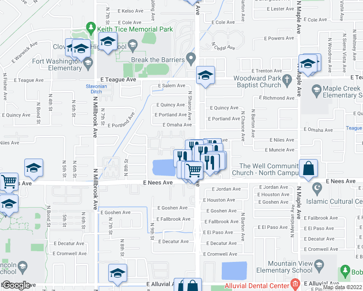 map of restaurants, bars, coffee shops, grocery stores, and more near 8147 N Cedar Ave in Fresno