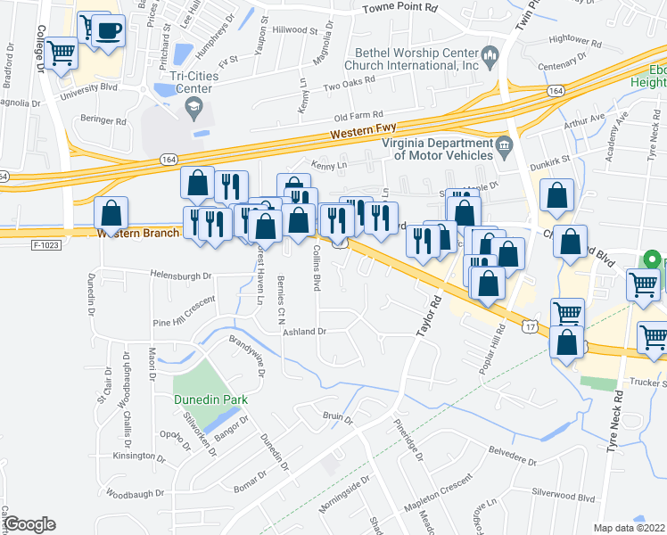 map of restaurants, bars, coffee shops, grocery stores, and more near 3504 Executive Center Drive in Chesapeake