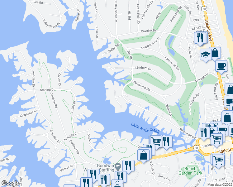 map of restaurants, bars, coffee shops, grocery stores, and more near 920 Holladay Point in Virginia Beach