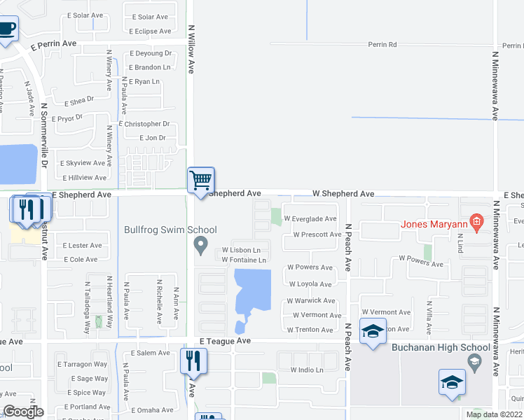 map of restaurants, bars, coffee shops, grocery stores, and more near 627 W Milano Ln in Clovis