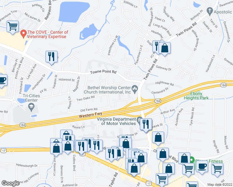 map of restaurants, bars, coffee shops, grocery stores, and more near 185 Pepperwood Place in Portsmouth