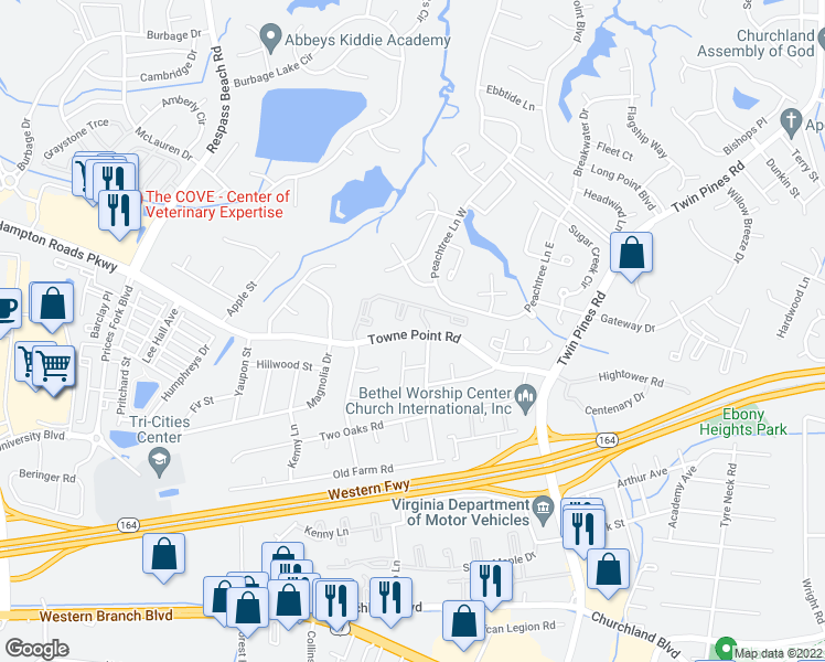 map of restaurants, bars, coffee shops, grocery stores, and more near 3798 Towne Point Road in Portsmouth