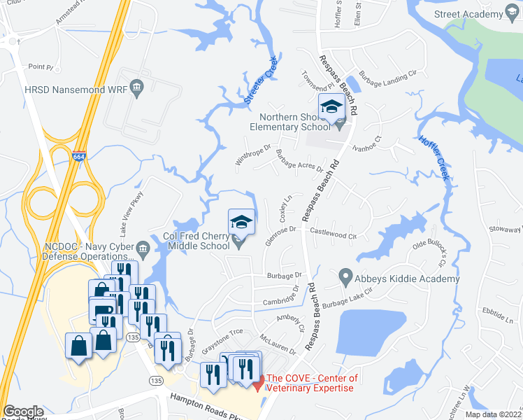 map of restaurants, bars, coffee shops, grocery stores, and more near 6413 Worcester Way in Suffolk