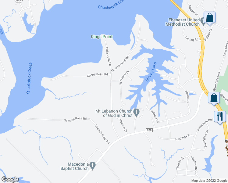 map of restaurants, bars, coffee shops, grocery stores, and more near 1628 Moores Point Rd in Suffolk
