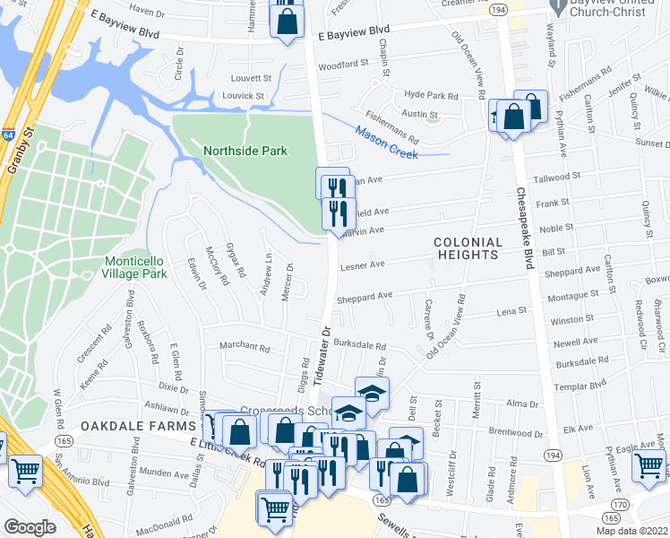 map of restaurants, bars, coffee shops, grocery stores, and more near Tidewater Dr & Lesner Ave in Norfolk
