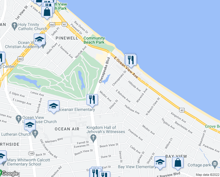 map of restaurants, bars, coffee shops, grocery stores, and more near Chesapeake St in Norfolk