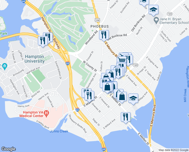 map of restaurants, bars, coffee shops, grocery stores, and more near 44-58 Bainbridge Avenue in Hampton
