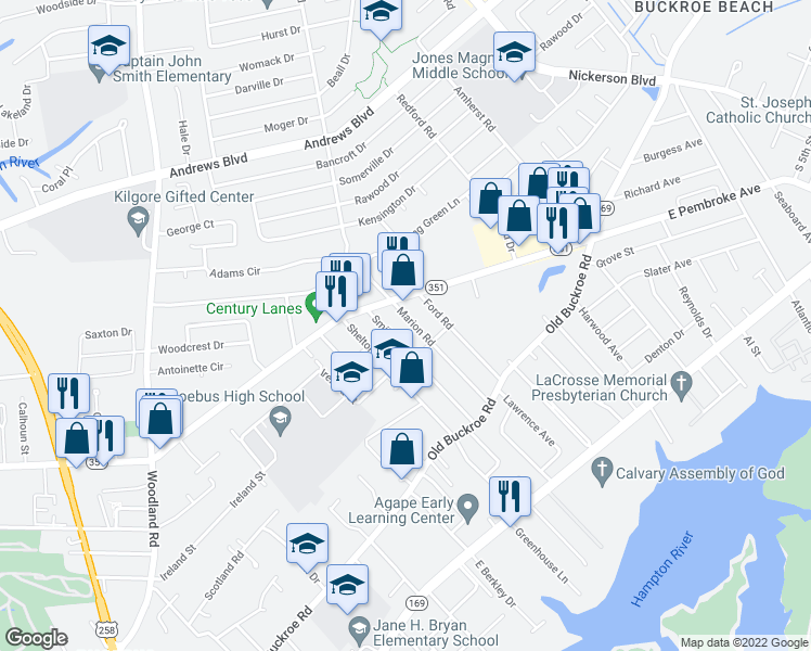 map of restaurants, bars, coffee shops, grocery stores, and more near 529 Marion Rd in Hampton