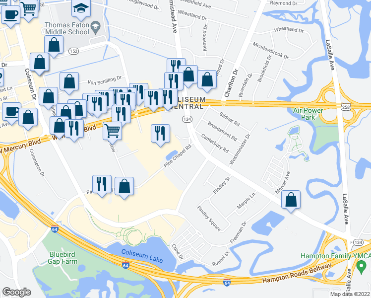map of restaurants, bars, coffee shops, grocery stores, and more near 233 Pine Chapel Road in Hampton