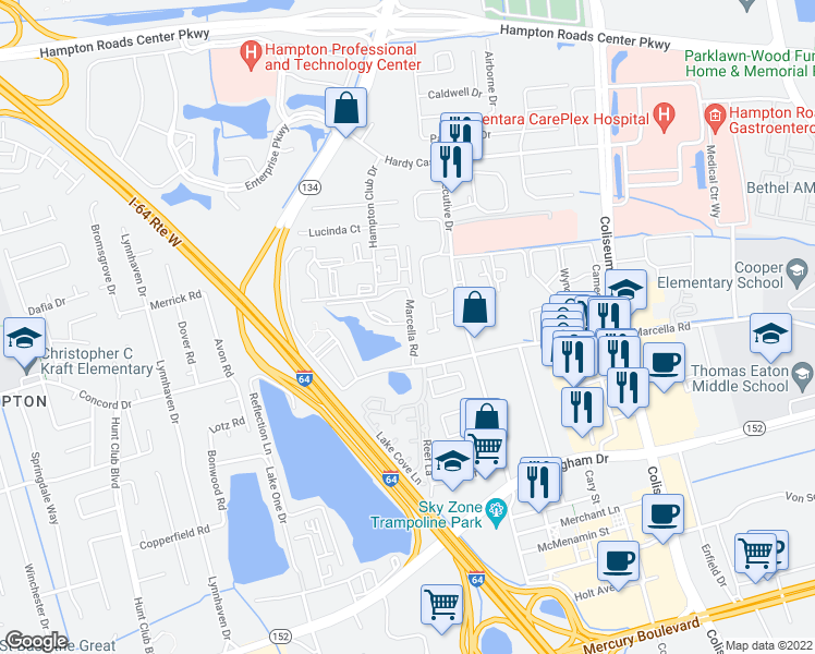 map of restaurants, bars, coffee shops, grocery stores, and more near 507 Marcella Rd in Hampton