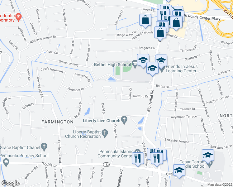 map of restaurants, bars, coffee shops, grocery stores, and more near 101 Maywood Drive in Hampton