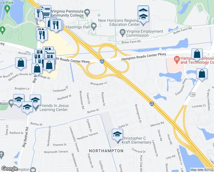 map of restaurants, bars, coffee shops, grocery stores, and more near 13 Treebark Pl in Hampton