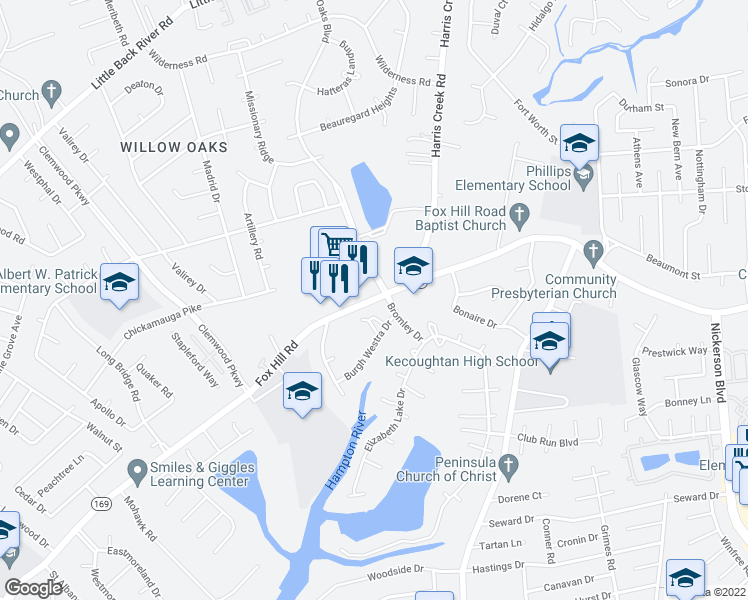 map of restaurants, bars, coffee shops, grocery stores, and more near 13 Willow Oaks Blvd in Hampton