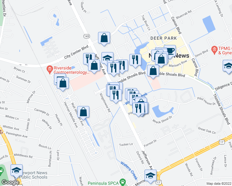 map of restaurants, bars, coffee shops, grocery stores, and more near 11742-11764 Jefferson Avenue in Newport News